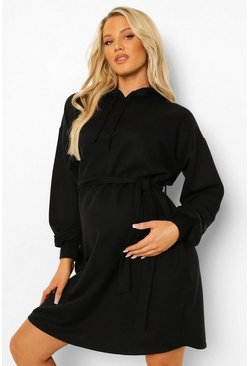 Black Maternity Tie Waist Hooded Sweat Dress
