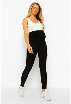 Black Maternity Crinkle Rib Over Bump Legging