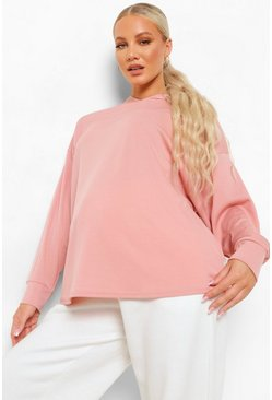Dusky pink pink Maternity Rib Oversized Hoodie