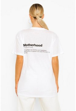 White Maternity 'Motherhood' Back Slogan T-shirt