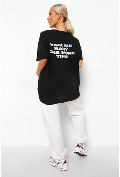 Black Maternity 'Kick Me Baby' Slogan T-shirt