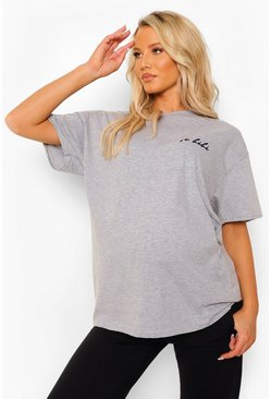 Grey marl grey Maternity 'Le Bebe' Graphic T-Shirt