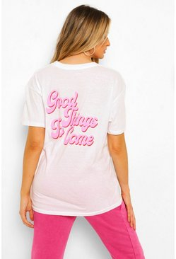 White Maternity 'Good Things' Slogan T-shirt