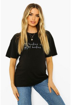 Black Maternity 'Good Bodies' Slogan T-shirt