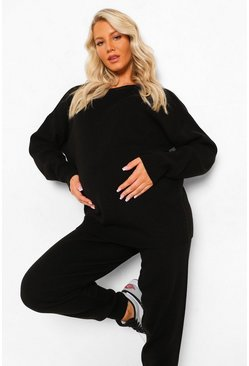 Black Maternity Crew Neck Knitted Lounge Set