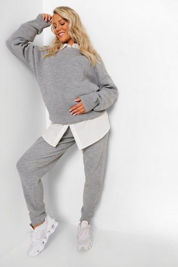 Grey Maternity Crew Neck Knitted Lounge Set