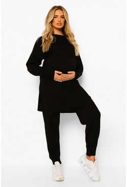 Black Maternity Tie Waist Knitted Lounge Set