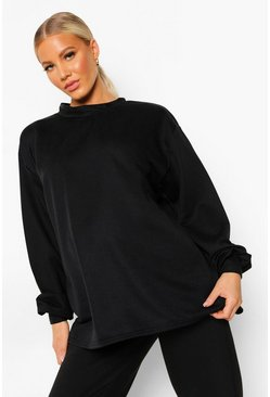 Black Maternity Open Back Sweatshirt