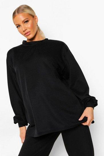 Black Maternity Open Back Sweatshirt
