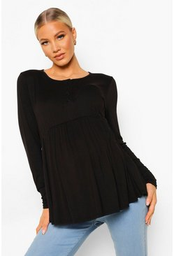 Black Maternity Crew Neck Button Front Smock
