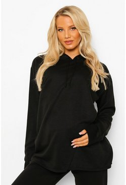 Black Maternity Nursing Oversized Hoodie