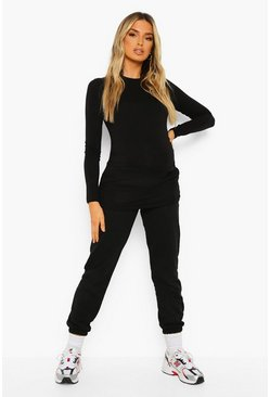 Black Maternity Long Sleeve T-shirt And Jogger Set