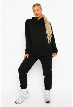 Black Maternity Side Split Hoodie Tracksuit