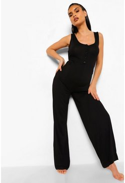 Black Maternity Button Front Lounge Jumpsuit
