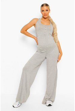 Grey marl grey Maternity Button Front Lounge Jumpsuit