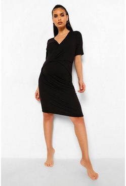 Black Maternity Wrap Nursing Nightie