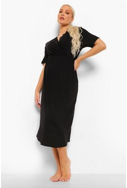 Black Maternity Lace Trim Cap Sleeve Nightgown