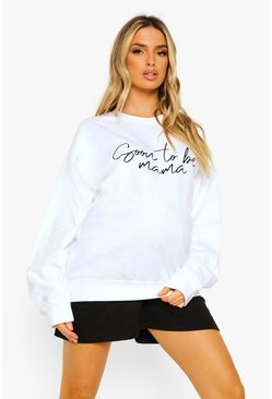 Maternity 'Soon To Be Mama' Sweatshirt, White blanc