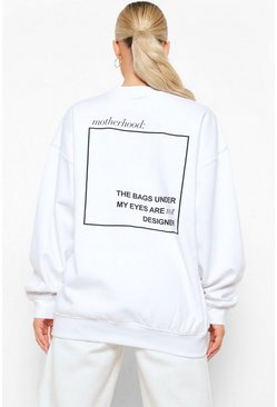 White Maternity Motherhood Slogan Back Print Sweat