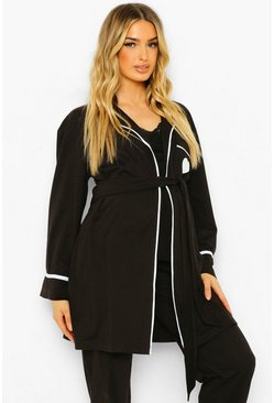 Black Maternity Baby Mama Embroidered Dressing Gown