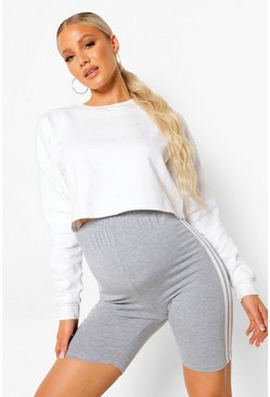 Grey marl grey Maternity Double Side Stripe Cycling Short