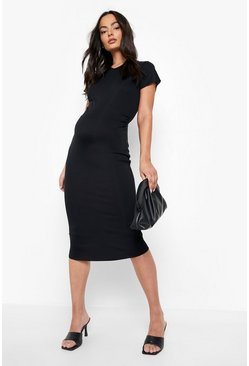 Black Maternity Lettuce Edge V-neck Bodycon Dress