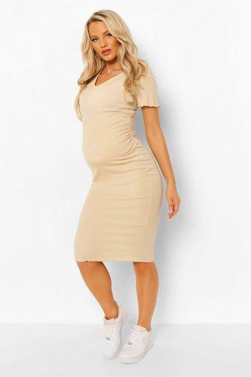 Camel beige Maternity Lettuce Edge V-neck Bodycon Dress