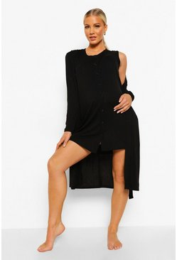 Black Maternity Button Front Nightie And Robe