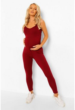 Berry red Maternity Strappy V-neck Lounge Romper