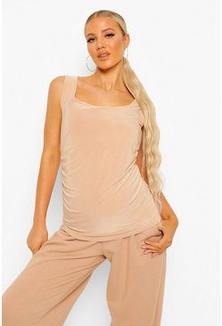 Light stone Maternity Double Layer Slinky Scoop Cami