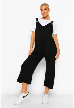 Black Maternity V-neck Lounge Culotte Dungaree