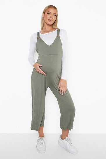 Khaki Maternity V-neck Lounge Culotte Dungaree