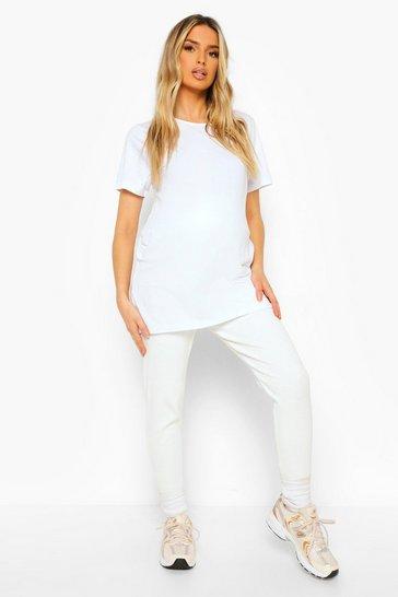 Ecru white Maternity Premium Rib Leggings