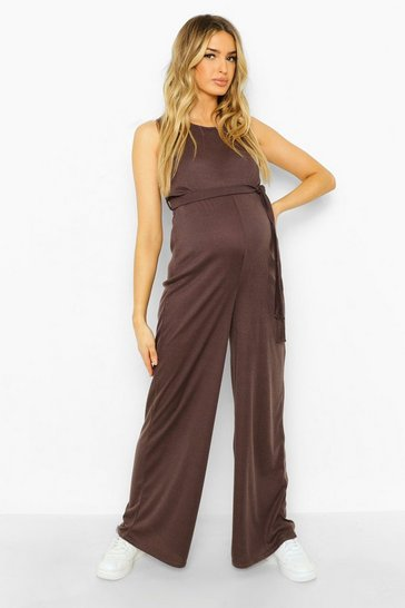 Charcoal grey Maternity Tie Waist Rib Jumpsuit