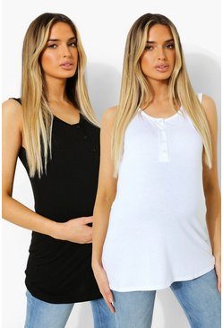 White Maternity 2 Pack Button Front Vest