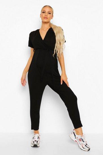 Black Maternity Wrap Front Lounge Jumpsuit