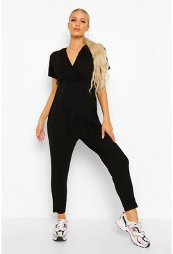 Maternity Wrap Front Lounge Jumpsuit, Black schwarz