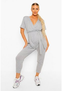 Maternity Wrap Front Lounge Jumpsuit, Grey marl grigio