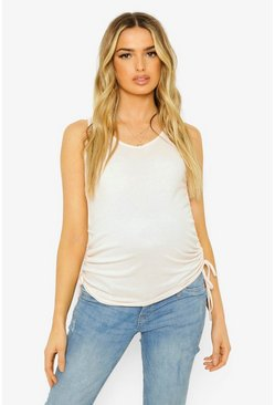 Grey Maternity Rib Ruched Side Tank Top