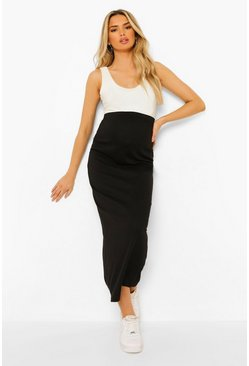 Black Maternity Over The Bump Rib Maxi Skirt