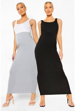 Black Maternity 2pack Over The Bump Maxi Skirt