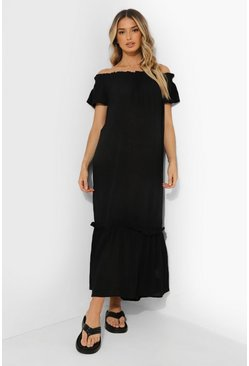 Black Maternity Bardot Ruffle Cheesecloth Dress