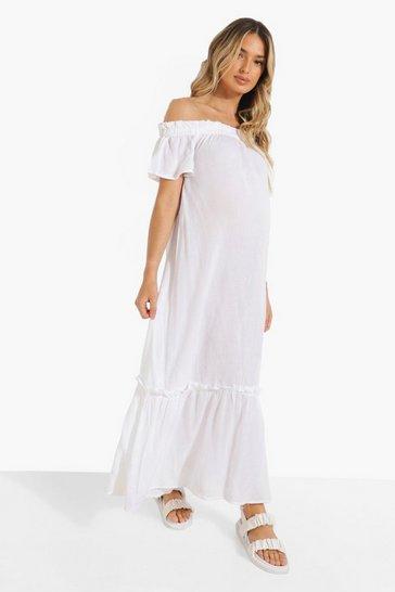 White Maternity Bardot Ruffle Cheesecloth Dress