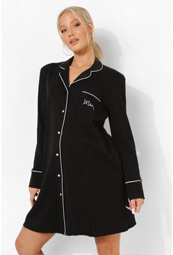 Black svart Maternity Mama 3pc Nightie Set