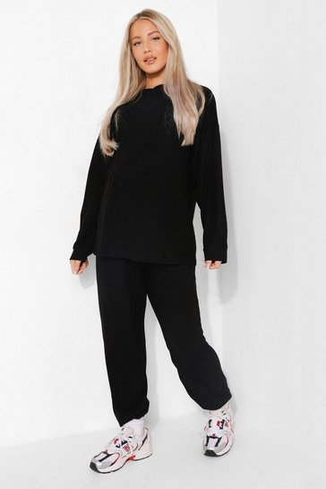 Black Maternity Super Soft Melange Hoody Lounge Set