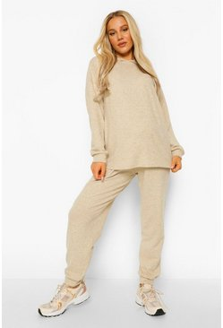 Light stone Maternity Super Soft Melange Hoody Lounge Set