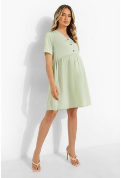 Sage green Maternity Button Down Smock Dress