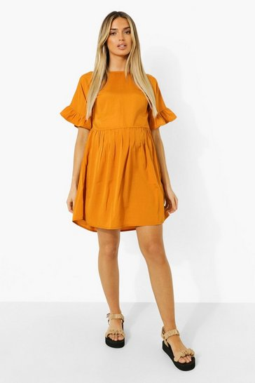 Mustard yellow Maternity Frill Sleeve Smock Dress