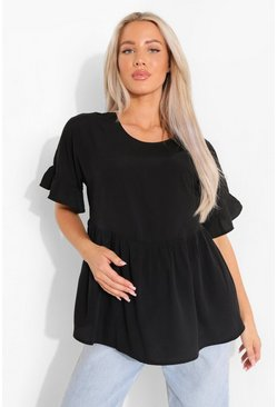 Black Maternity Cross Back Smock Top