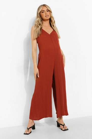 Rust orange Maternity Slouchy Tie Strap Jumpsuit
